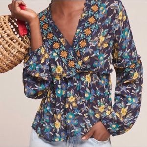 Anthro Meadow Rue Strasser Embroidered Floral Top